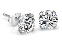 Genuine-925-Pure-Sterling-Silver-Imitated-Diamond-Wedding-Engagement-Cubic-Zirconia-Stud-font-b-Earrings-b