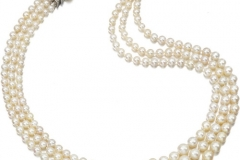 Natural pearl and diamond necklace, five cultured pearls_resize